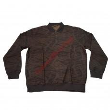 Блуза с яка 3XL - 4XL - 5XL с кафяв патерн