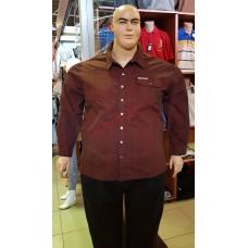 Риза Denim с дълги ръкави 100% памук 60 - 62 - 64 - 66 цвят  БОРДО