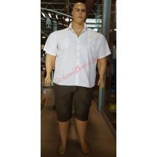 Бяла риза с къси ръкави 3XL - 4XL - 5XL - 6XL 100% варен памук