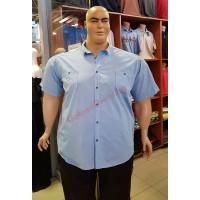 Риза с къси ръкави цвят НЕБЕСНО-СИН 3XL - 4XL - 5XL - 6XL 100% варен памук