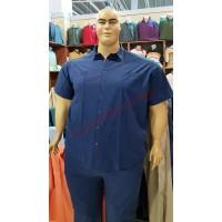 """Риза с къси ръкави цвят """"деним"""" 3XL - 4XL - 5XL - 6XL 100% варен памук"""