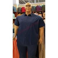 Тъмно-синя риза с къси ръкави 3XL - 4XL - 5XL - 6XL 100% варен памук