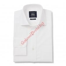 Памучна класическа риза фина рибена кост бял цвят