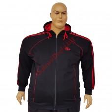 Суетшърт 3XL - 4XL - 5XL - 6XL памук-ликра черен с червен кант