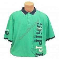 """Тениска с поло яка """"TM Sailing"""" 3XL - 4XL - 5XL зелена"""