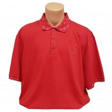 """Тениска с поло яка """"Котви"""" 3XL - 4XL - 5XL червена"""