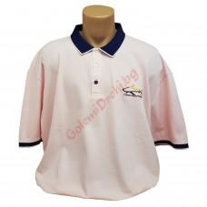 """Тениска с поло яка """"Акула"""" 3XL - 4XL - 5XL розова"""