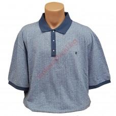 Тениска с поло яка 3XL - 4XL - 5XL - 6XL сива с пластрон
