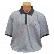 Светло-сива тениска с поло яка 3XL - 4XL - 5XL - 6XL с пластрон