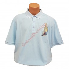 "Тениска с поло яка ""Кораб"" 3XL - 4XL - 5XL - 6XL - 7XL светло-синя"
