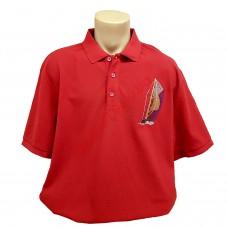"""Тениска с поло яка """"Кораб"""" 3XL - 4XL - 5XL червена"""
