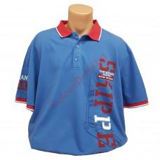 """Тениска с поло яка """"TM Sailing"""" 3XL - 4XL - 5XL синя"""