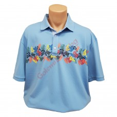 """Тениска с поло яка """"Листа"""" 3XL - 4XL - 5XL светло-синя"""