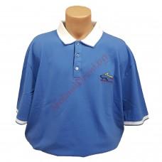 """Тениска с поло яка """"Акула"""" 3XL - 4XL - 5XL синя"""
