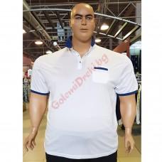Тениска с поло яка и джоб 3XL - 4XL - 5XL - 6XL - 7XL цвят БЯЛ