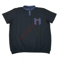 Тениска с поло яка черна 58 - 60 - 62 - 64 - 66 с джоб и пластрон