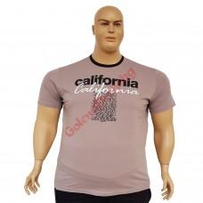 """Тениска с надпис """"California"""" 3XL - 4XL - 5XL - 6XL капучино"""