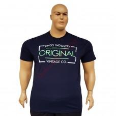 "Тениска с надпис ""Original Vintage Co"" 3XL - 4XL - 5XL - 6XL тъмно-синя"