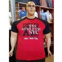 Тениска 555 ATLETHIC NYC 3XL - 4XL - 5XL - 6XL в червено и черно