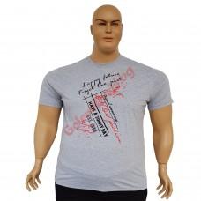 "Тениска с надпис ""Happy Future"" 3XL - 4XL - 5XL - 6XL сива"