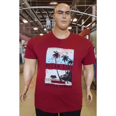 """Тениска """"OCEAN SIDE"""" 2XL - 3XL - 4XL - 5XL - 6XL БОРДО"""