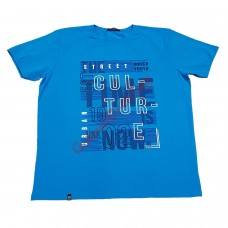 Тениска с надпис 4XL - 5XL тюркоазено синя
